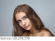 Купить «portrait of a young beautiful girl with long hair and natural make-up», фото № 29274779, снято 19 августа 2018 г. (c) Restyler Viacheslav / Фотобанк Лори