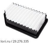 Купить «Автомобильный воздушный фильтр со скошенным углом на белом фоне», фото № 29276335, снято 27 сентября 2018 г. (c) Кекяляйнен Андрей / Фотобанк Лори