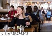 Thoughtful girl in restaurant. Стоковое фото, фотограф Яков Филимонов / Фотобанк Лори