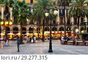 Купить «Placa Reial in Barcelona, Spain», фото № 29277315, снято 1 сентября 2017 г. (c) Яков Филимонов / Фотобанк Лори