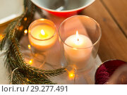 Купить «candles burning on christmas table», фото № 29277491, снято 14 декабря 2017 г. (c) Syda Productions / Фотобанк Лори