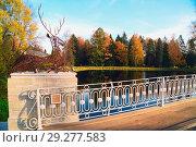Купить «Autumn landscape bridge over the pond.Pavlovsk Park.», фото № 29277583, снято 16 октября 2018 г. (c) Алексей Маринченко / Фотобанк Лори