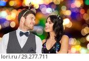 Купить «couple with christmas or new year party props», фото № 29277711, снято 15 декабря 2017 г. (c) Syda Productions / Фотобанк Лори