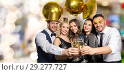 Купить «happy friends clinking champagne glasses at party», фото № 29277727, снято 3 марта 2018 г. (c) Syda Productions / Фотобанк Лори