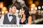 Купить «couple with christmas or new year party props», фото № 29278411, снято 15 декабря 2017 г. (c) Syda Productions / Фотобанк Лори