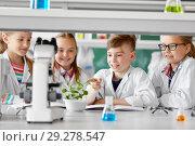 Купить «kids or students with plant at biology class», фото № 29278547, снято 19 мая 2018 г. (c) Syda Productions / Фотобанк Лори