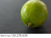 Купить «close up of whole lime on slate table top», фото № 29278639, снято 4 апреля 2018 г. (c) Syda Productions / Фотобанк Лори