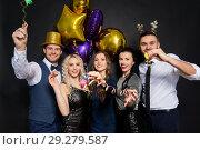 Купить «friends at christmas or new year party», фото № 29279587, снято 3 марта 2018 г. (c) Syda Productions / Фотобанк Лори