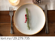 Купить «table setting for christmas dinner at home», фото № 29279735, снято 14 декабря 2017 г. (c) Syda Productions / Фотобанк Лори