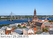 Вид на Ригу с башни церкви святого Петра. Латвия (2018 год). Стоковое фото, фотограф Сергей Афанасьев / Фотобанк Лори