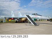 Купить «Российский многоцелевой сверхманёвренный истребитель Су-35 на авиашоу МАКС-2017. Жуковский», фото № 29289283, снято 20 июля 2017 г. (c) Виктор Карасев / Фотобанк Лори