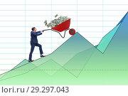 Купить «Businessman pushing wheelbarrow full of dollar money», фото № 29297043, снято 23 апреля 2019 г. (c) Elnur / Фотобанк Лори