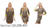 Купить «Blondie in gray satin dress isolated on white», фото № 29298491, снято 17 сентября 2014 г. (c) Elnur / Фотобанк Лори
