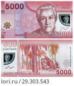 Купить «5000 pesos banknote, Gabriela Mistral, La Campana national park, Chile, 2013.», фото № 29303543, снято 15 ноября 2019 г. (c) age Fotostock / Фотобанк Лори