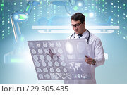 Купить «Telehealth concept with doctor doing remote check-up», фото № 29305435, снято 26 марта 2019 г. (c) Elnur / Фотобанк Лори