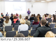 Купить «Business speaker giving a talk at business conference event.», фото № 29306607, снято 10 декабря 2018 г. (c) Matej Kastelic / Фотобанк Лори