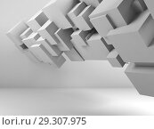 Купить «Abstract digital background with flying cubes», иллюстрация № 29307975 (c) EugeneSergeev / Фотобанк Лори