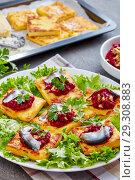 Купить «Polenta Squares with beetroot and anchovies», фото № 29308883, снято 24 октября 2018 г. (c) Oksana Zh / Фотобанк Лори