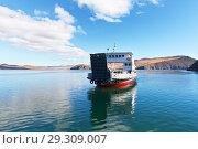 Купить «Baikal Lake. Regular passenger ferry arrives from Olkhon Island on a sunny autumn day», фото № 29309007, снято 13 октября 2018 г. (c) Виктория Катьянова / Фотобанк Лори
