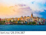 Купить «Istanbul cityscape in Turkey with Galata Tower.», фото № 29314387, снято 24 мая 2016 г. (c) Роман Гадицкий / Фотобанк Лори