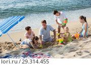 Купить «Parents with four children playing», фото № 29314455, снято 15 сентября 2019 г. (c) Яков Филимонов / Фотобанк Лори