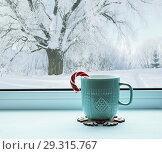 Купить «Winter still life - cup with candy cane on windowsill and winter landscape outside, winter composition», фото № 29315767, снято 28 ноября 2017 г. (c) Зезелина Марина / Фотобанк Лори