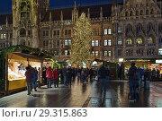 Купить «Рождественский базар на площади Мариенплац в Мюнхене около Новой ратуши в сумерках, Германия», фото № 29315863, снято 12 декабря 2017 г. (c) Михаил Марковский / Фотобанк Лори