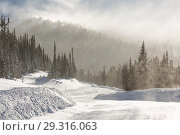 Купить «Snowy winter road during blizzard in Russia. Heavy snow storm.», фото № 29316063, снято 15 декабря 2018 г. (c) Владимир Пойлов / Фотобанк Лори