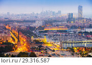 Купить «view to Barcelona and Port Vell in summer evening», фото № 29316587, снято 16 января 2019 г. (c) Яков Филимонов / Фотобанк Лори