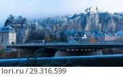 Купить «Port-de-France is the city gate at the entrance west of Grenoble in France», фото № 29316599, снято 7 декабря 2017 г. (c) Яков Филимонов / Фотобанк Лори