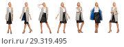 Купить «Pretty woman in leather skirt isolated on white», фото № 29319495, снято 17 сентября 2014 г. (c) Elnur / Фотобанк Лори