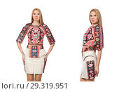 Купить «Pretty model in clothes with carpet prints isolated on white», фото № 29319951, снято 20 марта 2015 г. (c) Elnur / Фотобанк Лори