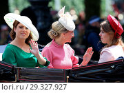 Купить «Trooping The Colour ceremony marking the Queen's 92nd Birthday Featuring: Princess Eugenie, Princess Beatrice, Sophie, Countess of Wessex Where: London...», фото № 29327927, снято 9 июня 2018 г. (c) age Fotostock / Фотобанк Лори