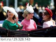 Купить «Trooping The Colour ceremony marking the Queen's 92nd Birthday Featuring: Princess Eugenie, Princess Beatrice, Sophie, Countess of Wessex Where: London...», фото № 29328143, снято 9 июня 2018 г. (c) age Fotostock / Фотобанк Лори
