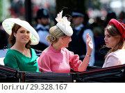 Купить «Trooping The Colour ceremony marking the Queen's 92nd Birthday Featuring: Princess Eugenie, Princess Beatrice, Sophie, Countess of Wessex Where: London...», фото № 29328167, снято 9 июня 2018 г. (c) age Fotostock / Фотобанк Лори