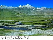 Купить «Landscape viewed from train of Trans-Tibetan Railway, Tibet, China», фото № 29356743, снято 16 июня 2019 г. (c) age Fotostock / Фотобанк Лори