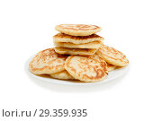 Купить «Stack of pancakes. Isolated at white background.», фото № 29359935, снято 22 ноября 2019 г. (c) Игорь Бородин / Фотобанк Лори