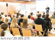 Купить «Business speaker giving a talk at business conference event.», фото № 29365215, снято 10 декабря 2018 г. (c) Matej Kastelic / Фотобанк Лори