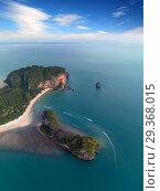 Aerial view of Pranang beach, Thailand (2018 год). Стоковое фото, фотограф Михаил Коханчиков / Фотобанк Лори