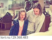Купить «Mother and daughter regarding ancient statues», фото № 29368483, снято 16 декабря 2018 г. (c) Яков Филимонов / Фотобанк Лори