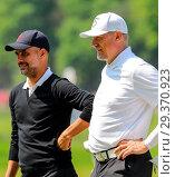 Купить «Sports stars and celebrities join professional golfers at the BMW PGA Championship pro-am at Wentworth Golf Club Featuring: Pep Guardiola, Peter Schmeichel...», фото № 29370923, снято 23 мая 2018 г. (c) age Fotostock / Фотобанк Лори