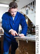 Купить «Man processing plank at workshop», фото № 29383391, снято 7 ноября 2016 г. (c) Яков Филимонов / Фотобанк Лори