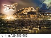 Купить «Plane and train with yachts», фото № 29383683, снято 14 апреля 2014 г. (c) Яков Филимонов / Фотобанк Лори