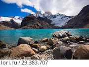 Купить «Lake at foot of Fitz Roy, Cerro Torre, Andes, Argentina», фото № 29383707, снято 1 февраля 2017 г. (c) Яков Филимонов / Фотобанк Лори