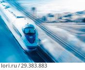 Купить «Speed of train traveling», фото № 29383883, снято 23 января 2019 г. (c) Яков Филимонов / Фотобанк Лори