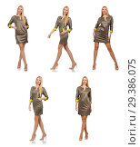 Купить «Blondie in gray satin dress isolated on white», фото № 29386075, снято 17 сентября 2014 г. (c) Elnur / Фотобанк Лори