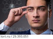 Купить «Concept of sensor implanted into human eye», фото № 29393051, снято 14 ноября 2018 г. (c) Elnur / Фотобанк Лори