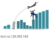 Купить «Businessman outperforming his competition jumping over», фото № 29393143, снято 16 ноября 2018 г. (c) Elnur / Фотобанк Лори