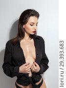 Купить «Sensual beautiful sexy woman with perfect breast covered black male shirt», фото № 29393683, снято 28 октября 2018 г. (c) Restyler Viacheslav / Фотобанк Лори
