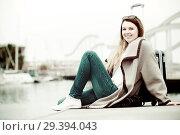 Купить «Portrait of girl relaxing at berth», фото № 29394043, снято 27 марта 2017 г. (c) Яков Филимонов / Фотобанк Лори